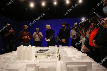 Stock Photo of The San Lorenzo club presented the model of the project of its new stadium so that it can be visited by fans and residents of the Boedo neighborhood.The presentation was attended by the President of the Club (President of the Argentine Soccer League and TV Presenter) Marcelo Tinelli