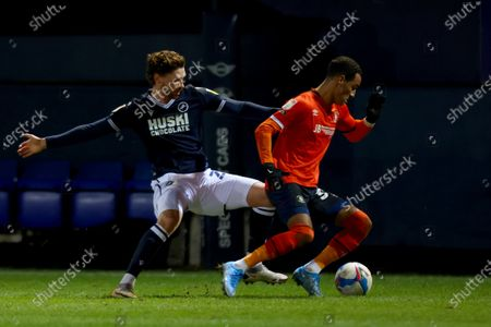 George Evans of Millwall challenges Thomas Ince of Luton Town; Kenilworth Road, Luton, Bedfordshire, England; English Football League Championship Football, Luton Town versus Millwall.