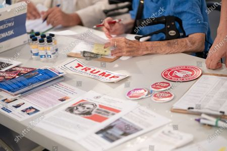 Press materials are seen during a Steve Bannon Speaking Engagement on Zoom with Queens Village Republican Club in Triple Crown Diner, Middle Village, Queens, New York on September 3, 2020. (Photo by John Nacion/NurPhoto)