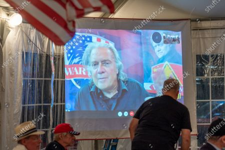 Steve Bannon speaks with Trump supporters on Zoom with Queens Village Republican Club in Triple Crown Diner, Middle Village, Queens, New York on September 3, 2020. (Photo by John Nacion/NurPhoto)