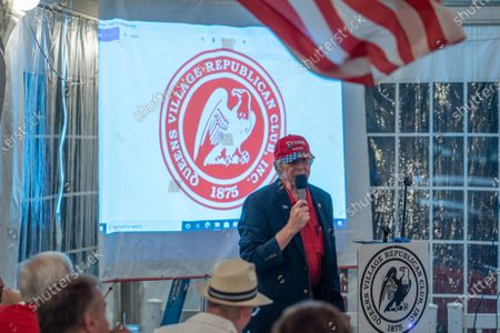 Stock Picture of A view of Queens Village Republican Club Inc. logo during a Steve Bannon Speaking Engagement on Zoom with Queens Village Republican Club in Triple Crown Diner, Middle Village, Queens, New York on September 3, 2020. (Photo by John Nacion/NurPhoto)