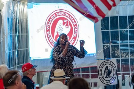 Evangelist Bevelyn Beatty(she was arrested weeks earlier for defacing a BLM mural in front of Trump Tower) gives an impassioned speech during a Steve Bannon speaking engagement with Queens Village Republican Club in Triple Crown Diner, Middle Village, Queens, New York on September 3, 2020. (Photo by John Nacion/NurPhoto)