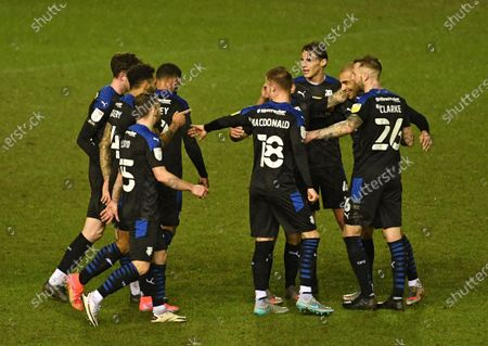 James Vaughan of Tranmere Rovers (2nd from right) celebrates scoring their second goal