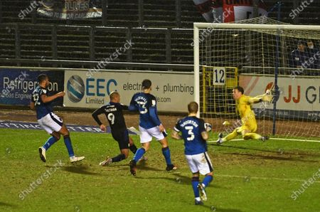 Stock Image of James Vaughan of Tranmere Rovers scores their third goal