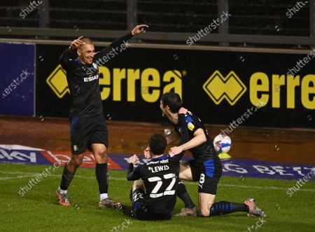 James Vaughan of Tranmere Rovers (left) celebrates scoring their third goal with team mates