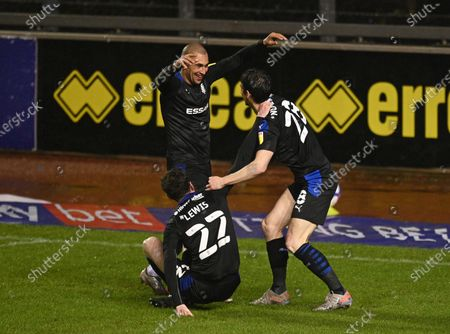Stock Picture of James Vaughan of Tranmere Rovers (left) celebrates scoring their third goal with team mates