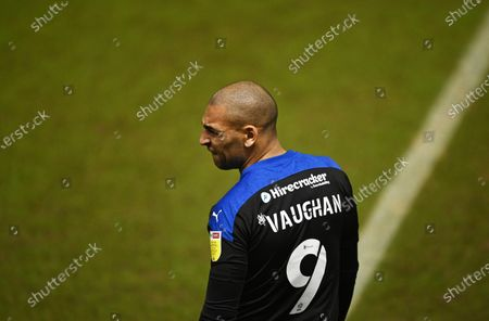 A view of James Vaughan of Tranmere Rovers and his shirt number and sleeve with EFL and Sky Bet branding
