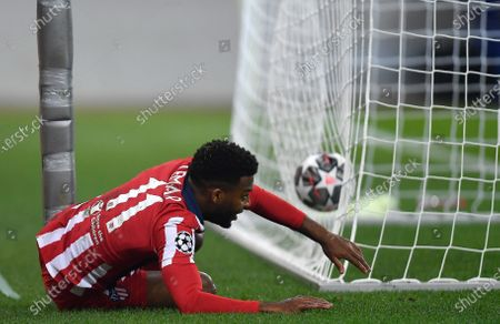 Thomas Lemar of Atletico Madrid shows a look of frustration after a missed chance