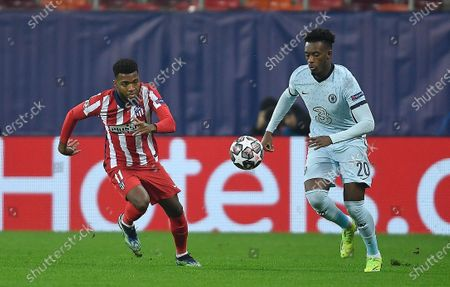 Callum Hudson-Odoi of Chelsea and Thomas Lemar of Atletico Madrid in action