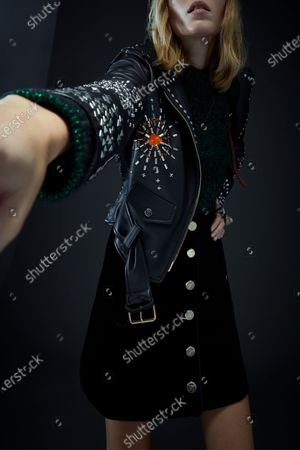 Stock Photo of A Model wearing an outfit from the Womens Ready to wear, pret a porter, collections, winter 2021 2022, original creation, during the Womenswear Fashion Week in London, from the house of Edward Crutchley