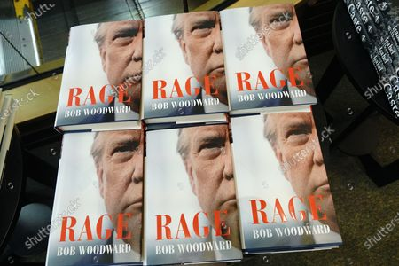 """Stock Picture of """"Rage"""" by Bob Woodward is offered for sale at a Barnes & Noble store on September 22, 2020 in New York City. The book, based on interviews that Woodward had with President Donald Trump. (Photo by John Nacion/NurPhoto)"""