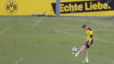 Dortmund's Lukasz Piszczek attends his team's training session at the training ground in Dortmund, Germany, 23 February 2021.