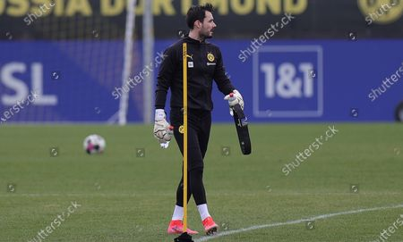 Stock Image of Dortmund's goalkeeper Roman Buerki attends his team's training session at the training ground in Dortmund, Germany, 23 February 2021.