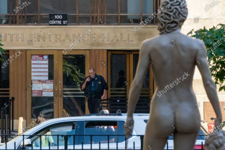 """Stock Picture of Newly installed statue of """"Medusa With The Head of Perseus"""" by Argentine-Italian artist Luciano Garbati stands in Collect Pond Park on October 14, 2020 in New York City. In the wake of the #MeToo movement, the seven-foot bronze sculpture changes the narrative of Medusa, offering a different take on the 16th Century Florentine bronze statue of """"Perseus with the Head of Medusa"""" by Benvenuto Cellini. The statue was installed directly across from New York County Criminal Court, the location of many high profile abuse cases including the recent Harvey Weinstein trial. (Photo by John Nacion/NurPhoto)"""