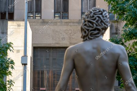 Editorial image of 'Medusa With The Head Of Perseus' Sculpture Installed, New York, USA - 14 Oct 2020