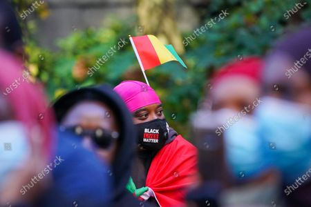 A view of protestors against Republic of Guinea, is seen at United Nations Plaza, which is seeing police violence, mass killings and civil unrest in the wake of the recent election of President Alpha Condé to a third term on October 31, 2020. (Photo by John Nacion/NurPhoto)