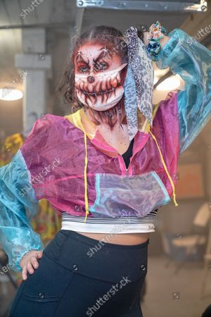 General view of a costumed actor posing for the camera at Blood Manor Haunted Attraction in Soho area on October 28, 2020. (Photo by John Nacion/NurPhoto)