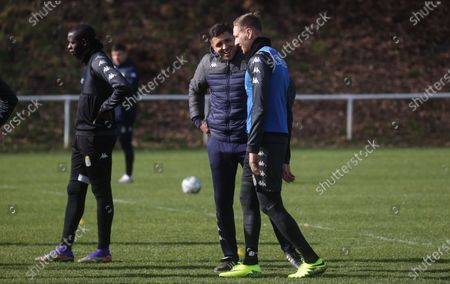 Stock Photo of Charleroi's head coach Karim Belhocine and Charleroi's Lukasz Teodorczyk pictured during a training session of Belgian soccer team Sporting Charleroi, in Charleroi, Tuesday 23 February 2021.