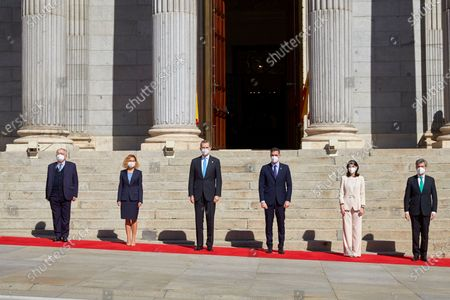 President of the Constitutional Court, Juan Jose Gonzalez Rivas, President of the Congress of Deputies Meritxell Batet, King Felipe VI, President of the Government Pedro Sanchez, President of the Senate Pilar Llop Cuenca and President of the Supreme Court Carlos Lesmes Serrano attend Institutional Act '40th Anniversary of February 23, 1981' at the Spanish Parliament
