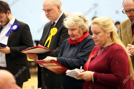 Stock Photo of A concerned looking Helen Goodman, MP for Bishop Auckland at the vote count in Spennymoor, County Durham.