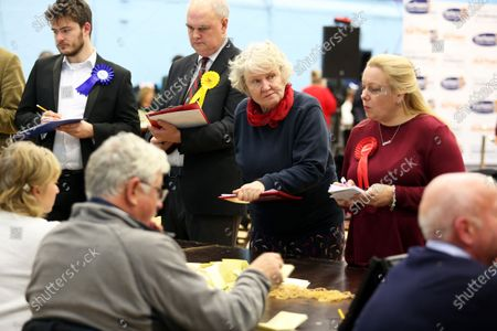A concerned looking Helen Goodman (centre), labour MP for Bishop Auckland at the vote count in Spennymoor, County Durham.