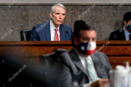 Ranking Member Sen. Rob Portman, R-Ohio, speaks at a Senate Homeland Security and Governmental Affairs & Senate Rules and Administration joint hearing on Capitol Hill, Washington, DC, USA, 23 February 2021, to examine the 06 January attack on the Capitol.