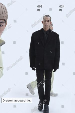 A Model wearing an outfit from the Womens Ready to wear, pret a porter, collections, winter 2021 2022, original creation, during the Womenswear Fashion Week in London, from the house of Xander Zhou