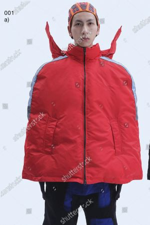 Stock Photo of A Model wearing an outfit from the Womens Ready to wear, pret a porter, collections, winter 2021 2022, original creation, during the Womenswear Fashion Week in London, from the house of Xander Zhou