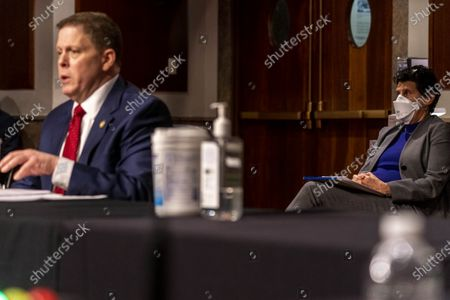 Stock Image of Attorney Debra Katz, right, representing former U.S. Capitol Police Chief Steven Sund, left, sits behind him as he testifies before a Senate Homeland Security and Governmental Affairs & Senate Rules and Administration joint hearing on Capitol Hill, Washington,, to examine the January 6th attack on the Capitol.