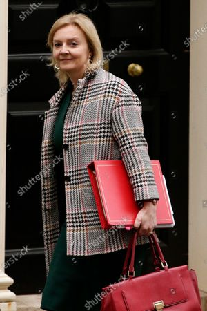 Secretary of State for International Trade, President of the Board of Trade and Minister for Women and Equalities Liz Truss, Conservative Party MP for South West Norfolk, leaves 10 Downing Street in London, England, on February 23, 2021.