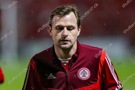Accrington Stanley defender Mark Hughes (3) in the pre match warm up during the EFL Sky Bet League 1 match between Crewe Alexandra and Accrington Stanley at Alexandra Stadium, Crewe