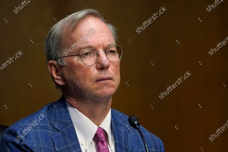 Dr. Eric E. Schmidt, co-founder of Schmidt Futures, listens on Capitol Hill in Washington, during a hearing on emerging technologies and their impact on national security