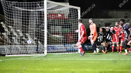 Joe Adams (45) Grimsby Town scores his goal during the EFL Sky Bet League 2 match between Grimsby Town FC and Crawley Town at Blundell Park, Grimsby