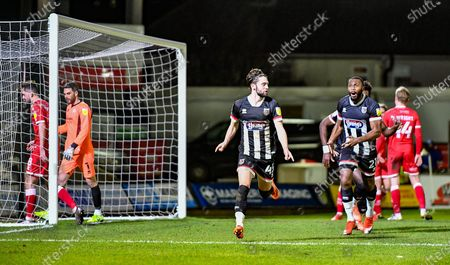 Joe Adams (45) Grimsby Town celebrates his goal during the EFL Sky Bet League 2 match between Grimsby Town FC and Crawley Town at Blundell Park, Grimsby