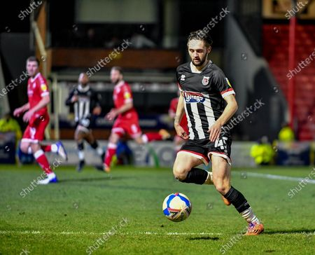 Match winner Joe Adams (45) Grimsby Townon the ball during the EFL Sky Bet League 2 match between Grimsby Town FC and Crawley Town at Blundell Park, Grimsby
