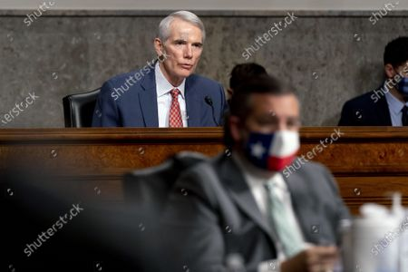 Ranking Member Sen. Rob Portman, R-Ohio, speaks at a Senate Homeland Security and Governmental Affairs & Senate Rules and Administration joint hearing on Capitol Hill, Washington, DC on Tuesday, February 23, 2021, to examine the January 6th attack on the Capitol.