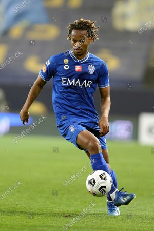 Al-Hilal's player Andre Carrillo in action during the Saudi Professional League soccer match between Al-Nassr and Al-Hilal at King Saud University Stadium, in Riyadh, Saudi Arabia, 23 February 2021.