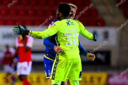 Michael Dawson of Nottingham Forest celebrates with Brice Samba of Nottingham Forest