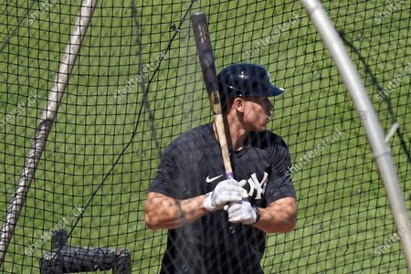 New York Yankees' Aaron Judge takes batting practice during a spring training baseball workout, in Tampa, Fla