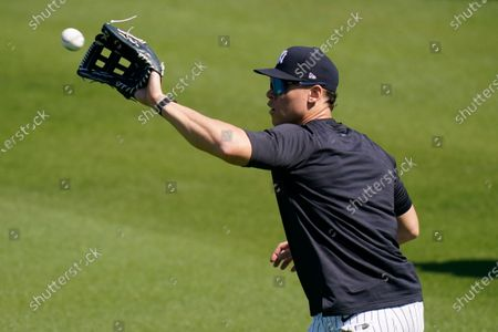 New York Yankees' Aaron Judge during a spring training baseball workout, in Tampa, Fla