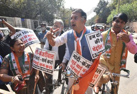 Editorial photo of Congress MCD Councilors Demonstration Against The Union And Delhi Government Over The Rise In Fuel Prices, New Delhi, India - 23 Feb 2021