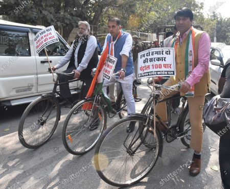 Stock Photo of Delhi Pradesh Congress Committee Vice-President and Leader of Congress Party in South Delhi Municipal Corporation Abhishek Dutt along with Congress Municipal Councillor's be going by cycling to Civic Center for February Monthly house to express their protest towards rising Petrol Diesel Prices in Delhi , at Gandhi market golchakkar , Back gate of Zakir Hussain College on February 23, 2021 in New Delhi, India.