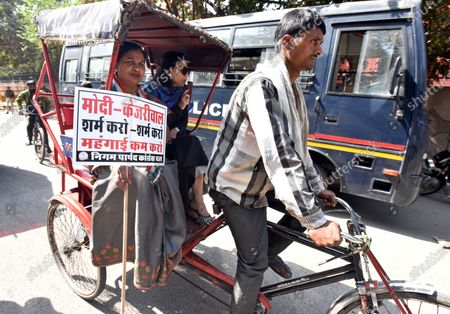 Editorial image of Congress MCD Councilors Demonstration Against The Union And Delhi Government Over The Rise In Fuel Prices, New Delhi, India - 23 Feb 2021