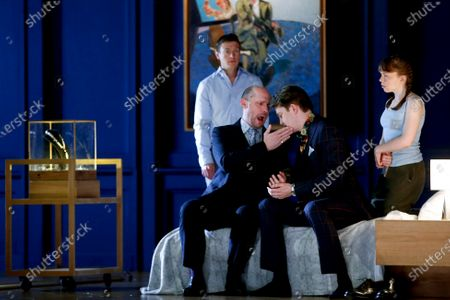 French baritone Stephane Degouty (L), in the role of 'King', and Canadian bass-baritone Daniel Okulitch (2-R), as 'Gaveston', perform in the rehearsal of the opera 'Lesson in love and violence' that will have its premier on 26 February at the Gran Teatre Liceu in Barcelona, Spain, 23 February 2021. The opera with the music composed by George Benjamin and the libretto written by Martin Crimp, that originally premiered in May 2018, is co-produced by six European opera theaters and the Lyric Opera of Chicago/USA. It expounds the relationship between King Edward II of England and his lover Piers Gaveston. The Barcelona premier - according to the Gran Teatre Liceu's website - will be directed by Katie Mitchell and with Josep Pons conducting the orchestra.