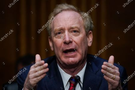Microsoft President Brad Smith speaks during a Senate Intelligence Committee hearing on Capitol Hill on in Washington