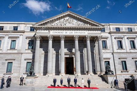 King Felipe VI (3l), the President of the Government, Pedro Sanchez (3rd), the President of the Constitutional Court Juan Jose Gonzalez Rivas (l), the President of the Congress Meritxel Batet (2nd), the President of the Senate, Pilar Llop (2nd) and the President of the Supreme Court Carlos Lesmes (r)