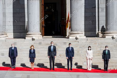 King Felipe VI, the President of the Government, Pedro Sanchez (3rd), the President of the Constitutional Court Juan Jose Gonzalez Rivas (l), the President of the Congress Meritxel Batet (2nd), the President of the Senate, Pilar Llop (2nd) and the President of the Supreme Court Carlos Lesmes (r)