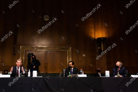 WASHINGTON, DC : FireEye CEO Kevin Mandia, SolarWinds CEO Sudhakar Ramakrishna and Microsoft President Brad Smith during the Senate Intelligence Committee hearing on Capitol Hill in Washington, DC. February 23, 2021.