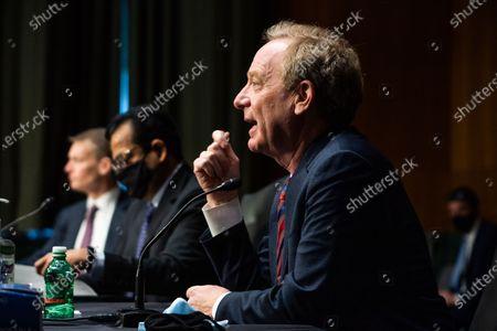 WASHINGTON, DC : Microsoft President Brad Smith speaks during the Senate Intelligence Committee hearing on Capitol Hill in Washington, DC. February 23, 2021.