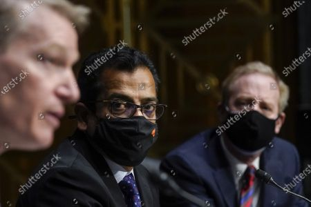 Stock Photo of (L-R) FireEye CEO Kevin Mandia, SolarWinds CEO Sudhakar Ramakrishna and Microsoft President Brad Smith testify during a Senate Intelligence Committee hearing on Capitol Hill in Washington, DC on Tuesday, February 23, 2021. The hearing focused on the 2020 cyberattack that resulted in a series of data breaches within several agencies and departments of the U.S. federal government.